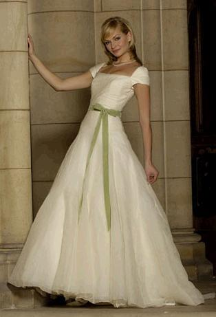 Gallery For Green And White Wedding Dresses With Sleeves